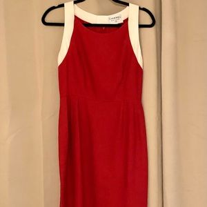CHANEL Vintage red with white trim linen dress